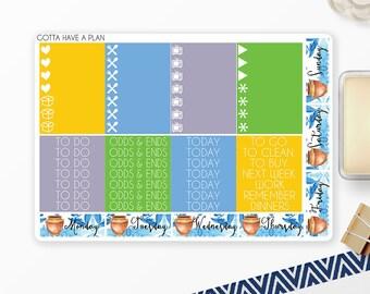 Planner Stickers Mediterranean Headers and Littles for Erin Condren, Happy Planner, Filofax, Scrapbooking