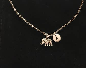 Personalized baby gifts elephant etsy tiny elephant necklace with letter elephant gifts elephant lovely elephant jewelry baby negle Gallery