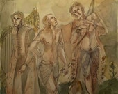 The Three Musicians Original Painting Travelling Bards Magic Fantasy Art Harp Player Flute Lute Cello Violin Piano Bagpipes  Music Singing