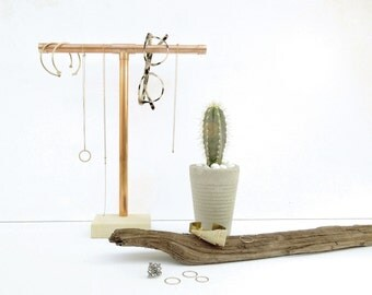 Copper Pipe Jewelry Display - Tall