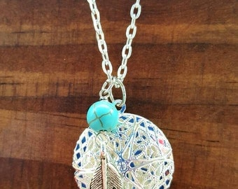 Essential oil diffuser necklace, aromatherapy necklace, feather and turquoise charm