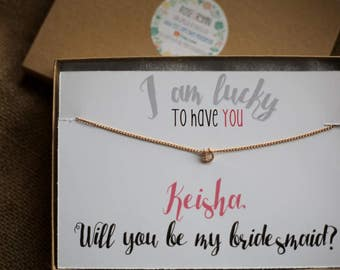 Bridesmaid Card & Circle Necklace, Be my bridesmaid, horseshoe necklace, I'm lucky to have you, bridal jewelry