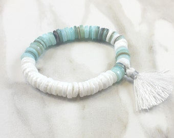 White and Turquoise Shell Tassel Bracelet
