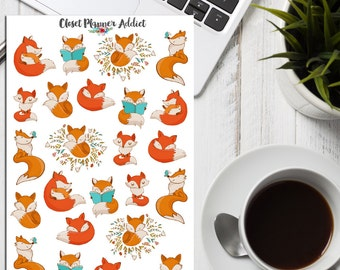 Cute Foxes Planner Stickers | Fox Stickers | Animals Stickers | Cute Foxes | Reading Stickers (S-206)