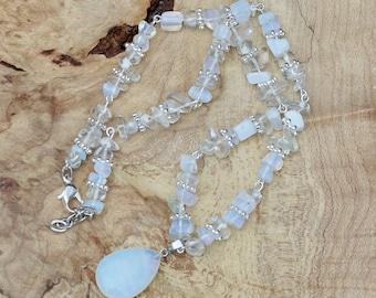 Opal  Pendant Necklace ~ Opalite  Irregular Stones ~ Iridescent Stones ~ Boho Jewellery ~ Healing  ~ Graduation Gift