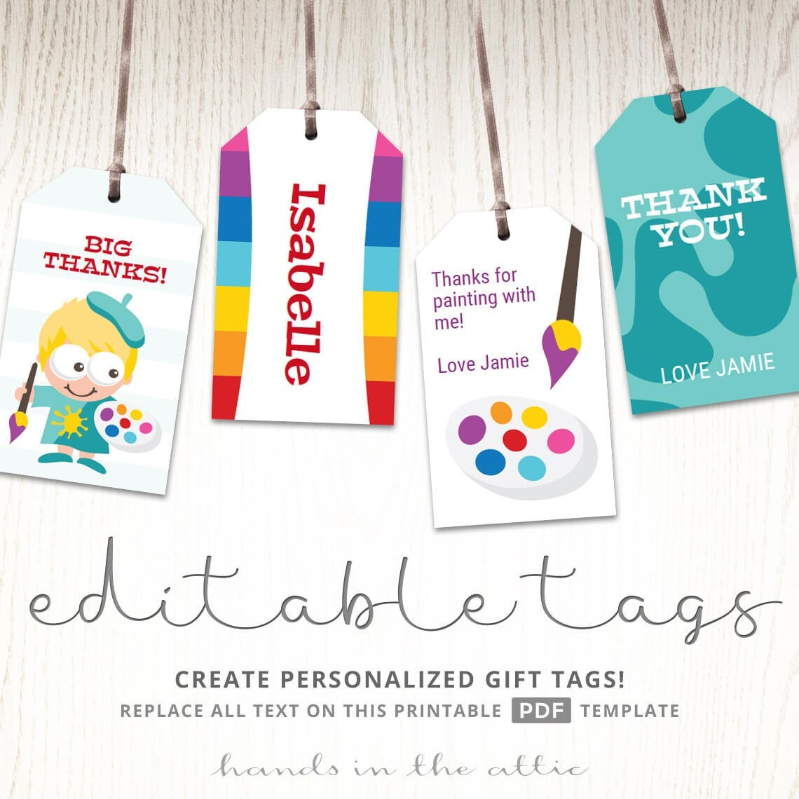 Art Party Printables Homemade Gift Tags Personalized Diy