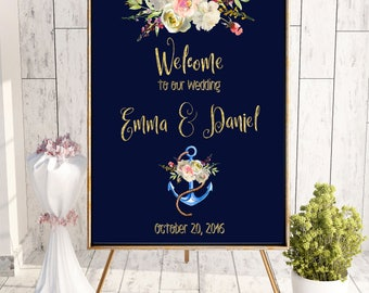 Nautical Wedding Welcome Sign Wedding Chalkboard Welcome to Wedding sign Wedding Sign Welcome to wedding Beach wedding sign download idw81