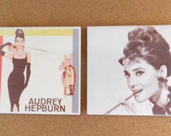 SALE Pair of Audrey Hepburn Tile Coasters 20% OFF!!