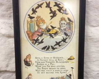 Vintage Framed Sing A Song of Sixpence Nursery Rhyme Picture by Molly Bret. Nice Quirky Item Great Present one small stain on the picture.
