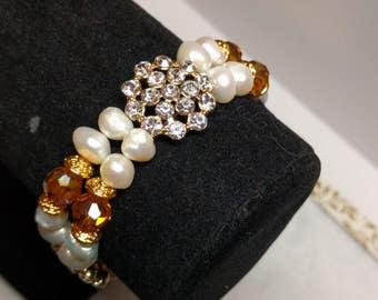 Golden Amber Pearl Bracelet