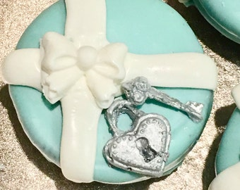 Teal With White Bow, Silver Heart Lock and Key, Chocolate Covered Oreos, Cookies, Boxes