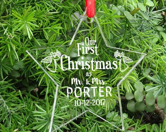 Personalized  Laser Engraved Tree Ornament, First Christmas Wedding Ornament, First Christmas as Mr and Mrs Gift Hanging With Gift Box PCO22