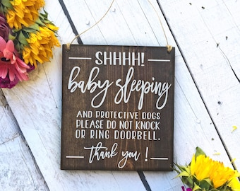 Baby Sleeping Sign, Protective Dog Sign, No Soliciting, Sleeping Baby Sign, Do Not Disturb Sign, Barking dog Sign, Baby Signs, Baby Shower
