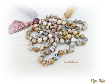 Mala Beads 108, Prayer Beads, Knotted Mala, Yoga Beads, Picture Jasper, Dalmation Jasper, Sacred Rudraksha, Harmony, Devotion, Meditate