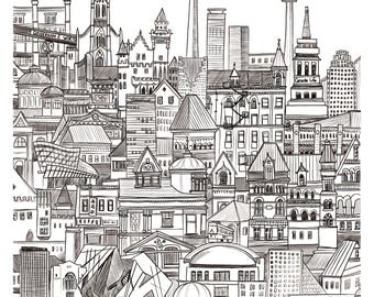 Toronto - High quality giclee print of an original illustration of the Canadian city / Architecture inspired / Wanderlust