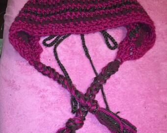 Vibrant Enchanting Fuchsia Textured Crochet Hood Hat