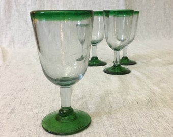 Vintage Blown Glass Green Footed and Rimmed Wine Glasses from Mexico, Set of 4