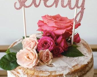 Seventy 70th birthday cake topper Choose Colour 70th birthday party gold glitter party decor seventieth birthday party celebration 7 inch