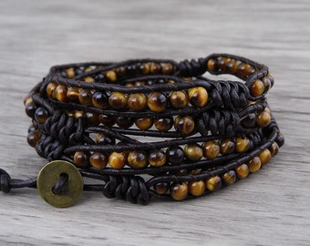 Tiger eye wrap bracelet gemstones wrap bracelet Yoga boho beaded bracelet bead leather wrap bracelet Gemstone bracelet jewelry SL-0528