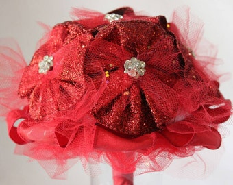 Red ribbon flower bridesmade 6inch wedding bouquet with jewels and tule