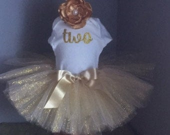 Gold Tutu outfit, Glitter gold tutu outfit, 2nd birthday, All Gold Tutu set, Girl Tutu, Baby Tutu, Birthday onesie, Toddler tutu, Headband