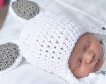 Crochet Bunny Ear Flap Hat - Easter Bunny Hat - easter beanie - white bunny hat - bunny beanie - baby hat - newborn hat, bunny ears hat