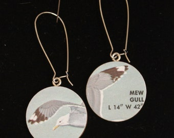 Reversible Mew Gull Seagull Vintage Birdwatcher Manual Handmade Earrings