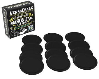 Erasable Chalkboard Mason Jar Lids by VersaChalk - Pack of 12