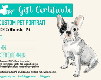 SALE-20% OFF. Gift Certificate. Last minute gift. Mothers Day Gift. Gift Idea. Custom Portrait. Custom pet portrait. Unique gift for pets.