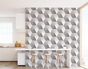 Geometric Concrete Hexagon Wallpaper