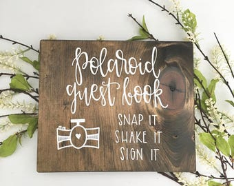 Polaroid Guest Book - Wood Sign