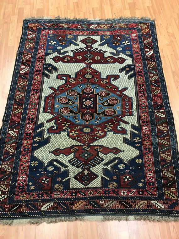 "4'3"" x 5'8"" Antique Russian Eagle Kazak Oriental Rug - 1890s - Hand Made - 100% Wool"