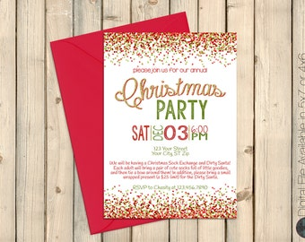 Christmas Holiday Party Invitation, Gold, Red, Green, Christmas Bash Celebration, Christmas Dinner, Christmas Get Together Invite, DIGITAL
