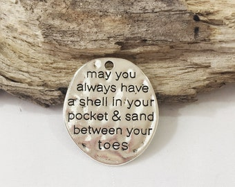 """2 Shell in your pocket & sand between your toes charms antique silver 1.25"""" KB62"""