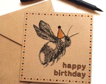 Bee Card Happy Birthday, bumble bee drawing with party hat, fun birthday greetings for nature lover, unique card for coworker, aunt, sister