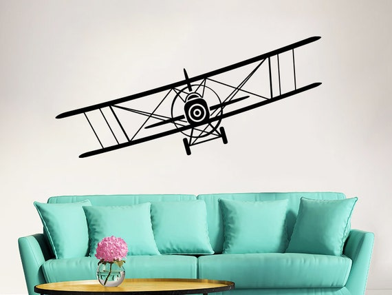 Airplane Wall Decal Vinyl Sticker Decals Biplane Decor Plane