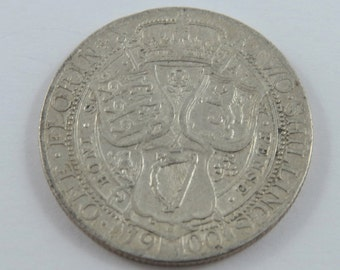 Great Britain 1900 Sterling Silver Florin Coin.