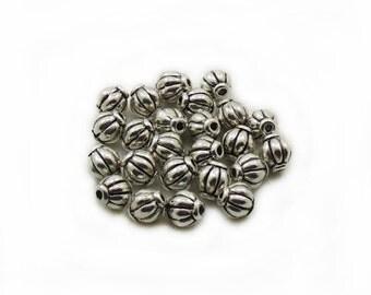 Metal Barrel Beads, 7x5 Barrel Beads, Antiqued Barrel Beads, 15 pcs Barrel Beads, Jewelry Making, Craft Supplies