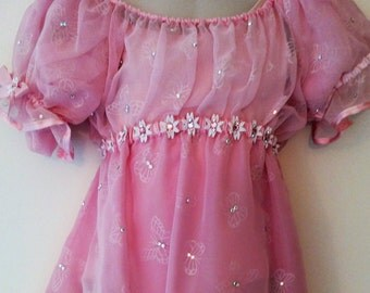 Girls Pink Dance Costume- Size Child M
