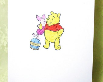 Winnie the Pooh and Piglet Card: Add a Greeting or Leave Blank