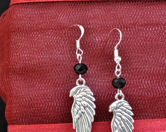 Angel wings earrings,gothic wings earrings,beadded wings earrings,drop wings earrings,archangel earrings,lolita wings earrings,fantasy wings