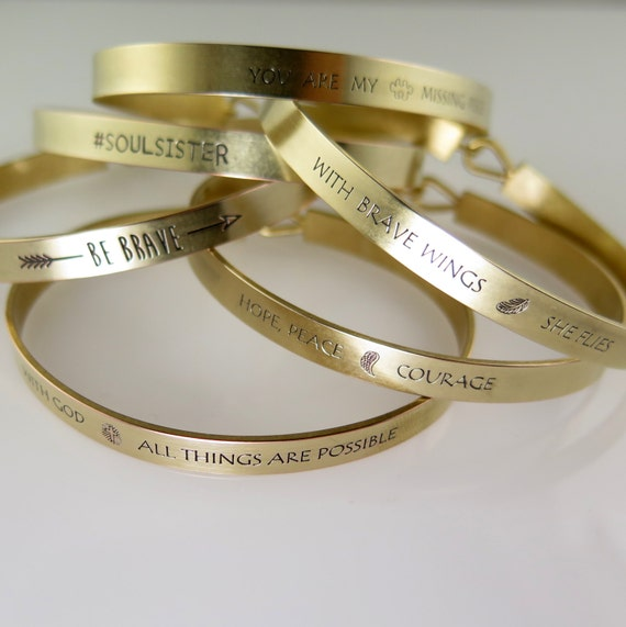 With Brave Wings She Flies Gold Bangle Bracelet, With Brave Wings She Flies Cuff Bracelet, Gold Bracelet