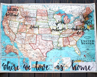 United States Map Etsy - Usa map with cities and states