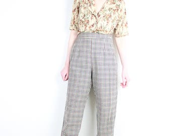 French Vintage 80's High Waisted Gingham Peg Leg Pants / Beige checkered Carrot Pants Mom Pants Tapered Cigarette Trousers Retro Mod / M L
