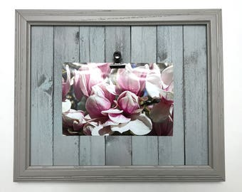 Custom Rustic Wood Picture Frame, Photo Clip Frame, Rustic Picture Frame with Distressed Wood