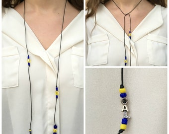 Cal Golden Bears Beaded Wrap Necklace/ UC Berkeley Choker Wrap Necklace/Choker Lariat Necklace/Leather Wrap Necklace