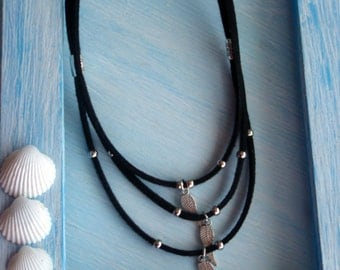 Wings Silver/Silver wings/3 suede necklaces, light grey suede, dark grey, black, brown, violet-choker suede and wings