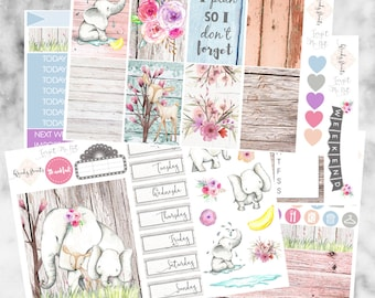 W194 Forget Me Not HAPPY PLANNER Weekly Kit, Planner Stickers, Mambi, Sticker Kit, Elephant, Rustic, Spring Stickers, Floral kit, Wooden