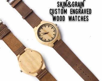 Groomsman Watches, Men Wooden Watch, Wooden Watch For Men, Wooden Watch Leather, Graduation Watch, Mens Watch Engraved, Mens Wood Gift Watch