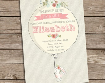 Bunny Baby Shower Invitation,  Rabbit Invite, Girl Baby Shower Invitation, Baby Shower Invite, Digital Printable Invitation, Customized